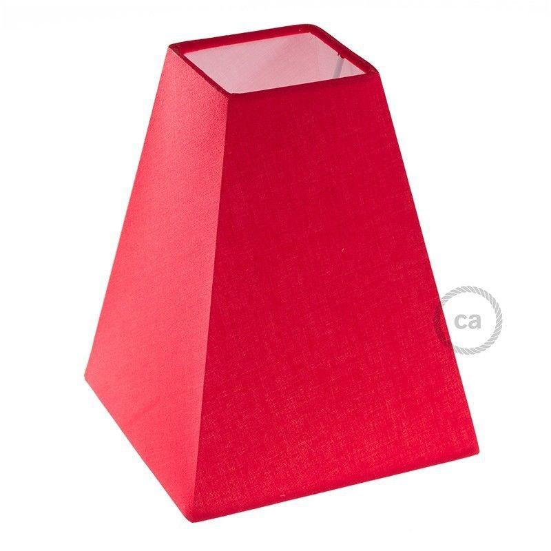 CA Paralume Piramide Quadrata, 16x16cm h20cm, Rosso 100% Made i