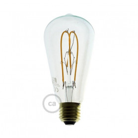 Lampadina-Trasparente-LED-Edison-ST64-Filamento-Curvo-a-Doppio-Loop-5W-E27-Dimme-122522995962
