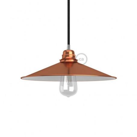 CA Paralume Swing E27 piatto concavo in metallo, rivestimento in rame con interno in smalto bianco