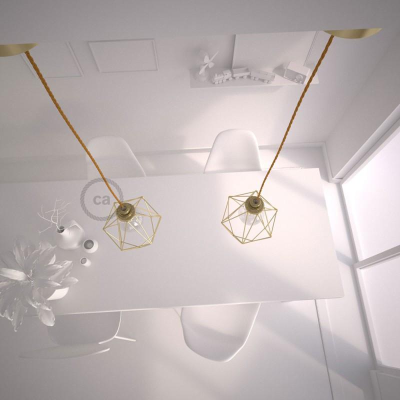 Cavi Per Lampadari A Sospensione.Ca Lampada A Sospensione Con Gabbia Diamond Finitura Ottone E Cav