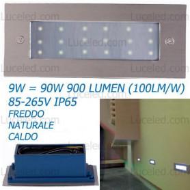 SEGNAPASSO-LED-SMD-DA-9W-45-900-LUMEN-IP65-ULTRA-LUMINOSO-ACCIAIO-SPAZZOLATO-182433565426