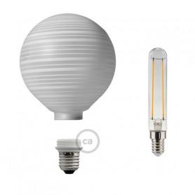 Lampadina-Decorativa-Componibile-LED-G125-con-vetro-bianco-con-linee-orizzontali-122557076278