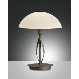 LAMPADA-DA-TAVOLO-QUEBEC-ABAT-JOUR-CON-STRUTTURA-IN-METALLO-RUGGINE-FABAS-LUCE-171790358449