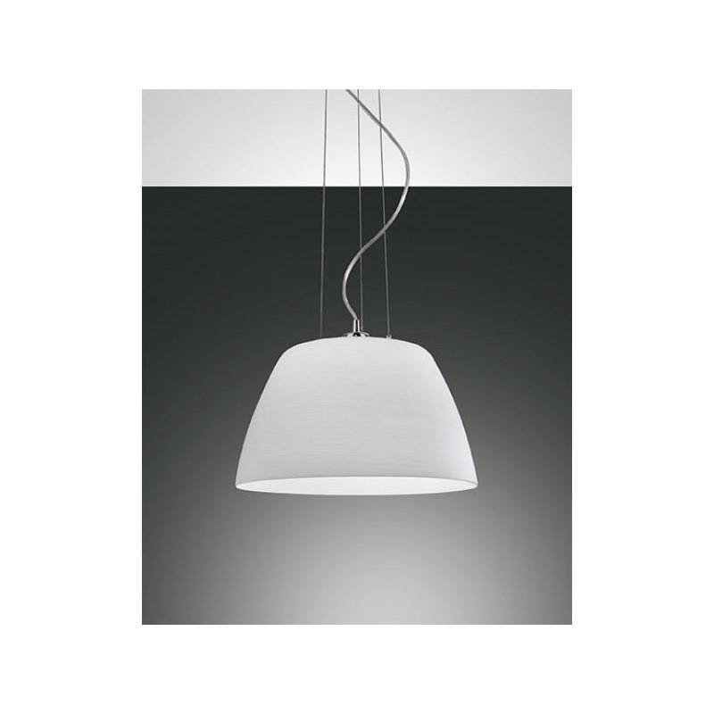 Lampadari Classici In Vetro.Lampadario A Sospensione Cap Montatura Cromo E Vetro Bianco Fabas L