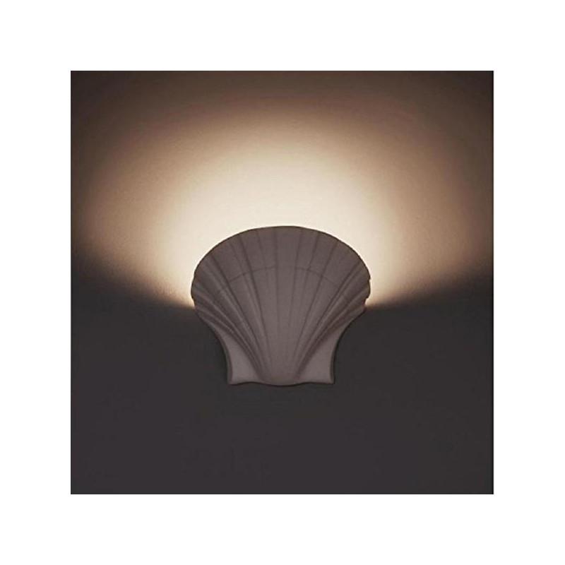 Lampadari Neon Moderni.Applique In Gesso Lampada Parete Moderno Attacco E27 Conchiglia Art