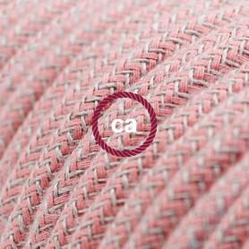 Cavo-Elettrico-rotondo-rivestito-in-Cotone-ZigZag-color-Rosa-Antico-e-Lino-Natur-122521561328