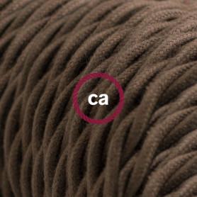 Cavo-Elettrico-trecciato-rivestito-in-Cotone-Tinta-Unita-Marrone-TC13-122521562308
