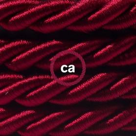 Cordone-XL-cavo-elettrico-3x075-Rivestimento-in-tessuto-bordeaux-scuro-lucido-122521575611