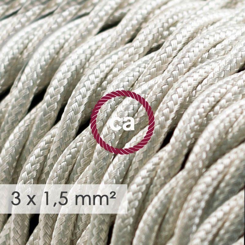 creative cables Cavo Elettrico Rotondo Rivestito in Tessuto Effetto Seta Tinta Unita Rosa Baby RM16-5 Metri 3x0.75