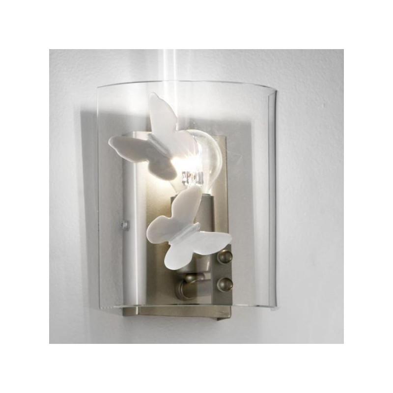 Applique Lampada Parete Artigianale Serie Gabbia 1 Luce cristalli
