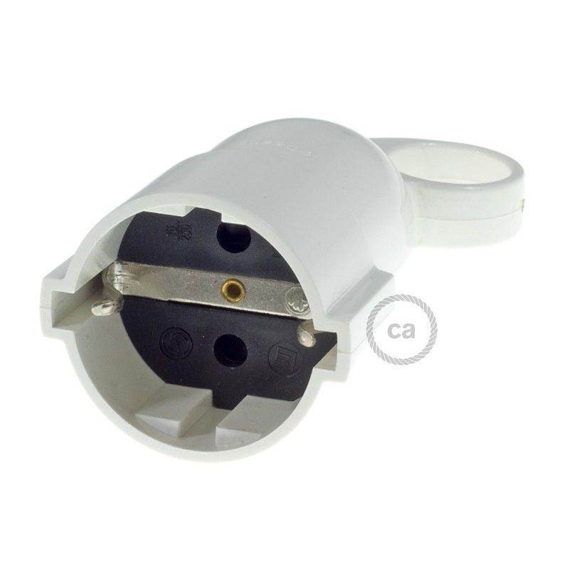 Spina Schuko Confort con anello 16A 250V Nera